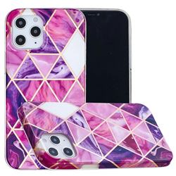 Purple Dream Triangle Painted Marble Electroplating Protective Case for iPhone 12 Pro Max (6.7 inch)