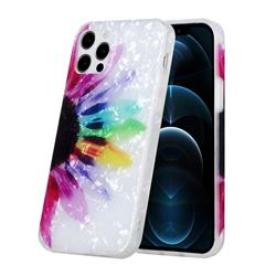 Colored Sunflower Shell Pattern Glossy Rubber Silicone Protective Case Cover for iPhone 12 Pro Max (6.7 inch)
