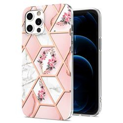 Pink Flower Marble Electroplating Protective Case Cover for iPhone 12 Pro Max (6.7 inch)