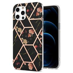 Black Rose Flower Marble Electroplating Protective Case Cover for iPhone 12 Pro Max (6.7 inch)