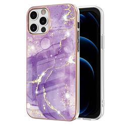 Fashion Purple Electroplated Gold Frame 2.0 Thickness Plating Marble IMD Soft Back Cover for iPhone 12 Pro Max (6.7 inch)