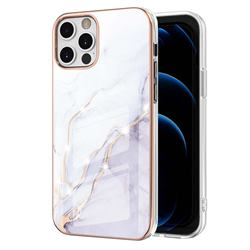 White Dreaming Electroplated Gold Frame 2.0 Thickness Plating Marble IMD Soft Back Cover for iPhone 12 Pro Max (6.7 inch)