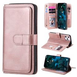Multi-function Ten Card Slots and Photo Frame PU Leather Wallet Phone Case Cover for iPhone 12 Pro Max (6.7 inch) - Rose Gold