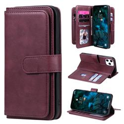 Multi-function Ten Card Slots and Photo Frame PU Leather Wallet Phone Case Cover for iPhone 12 Pro Max (6.7 inch) - Claret