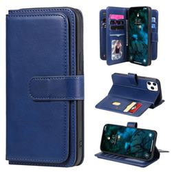 Multi-function Ten Card Slots and Photo Frame PU Leather Wallet Phone Case Cover for iPhone 12 Pro Max (6.7 inch) - Dark Blue