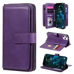 Multi-function Ten Card Slots and Photo Frame PU Leather Wallet Phone Case Cover for iPhone 12 Pro Max (6.7 inch) - Violet