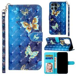 Rankine Butterfly 3D Leather Phone Holster Wallet Case for iPhone 12 Pro Max (6.7 inch)