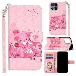 Pink Bear 3D Leather Phone Holster Wallet Case for iPhone 12 Pro Max (6.7 inch)