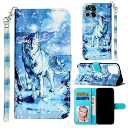 Snow Wolf 3D Leather Phone Holster Wallet Case for iPhone 12 Pro Max (6.7 inch)