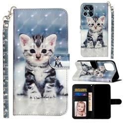 Kitten Cat 3D Leather Phone Holster Wallet Case for iPhone 12 Pro Max (6.7 inch)