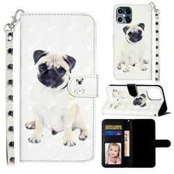 Pug Dog 3D Leather Phone Holster Wallet Case for iPhone 12 Pro Max (6.7 inch)