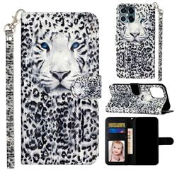 White Leopard 3D Leather Phone Holster Wallet Case for iPhone 12 Pro Max (6.7 inch)