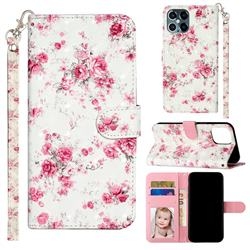 Rambler Rose Flower 3D Leather Phone Holster Wallet Case for iPhone 12 Pro Max (6.7 inch)