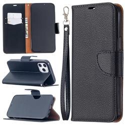 Classic Luxury Litchi Leather Phone Wallet Case for iPhone 12 Pro Max (6.7 inch) - Black