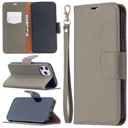 Classic Luxury Litchi Leather Phone Wallet Case for iPhone 12 Pro Max (6.7 inch) - Gray