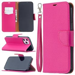 Classic Luxury Litchi Leather Phone Wallet Case for iPhone 12 Pro Max (6.7 inch) - Rose