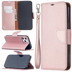 Classic Luxury Litchi Leather Phone Wallet Case for iPhone 12 Pro Max (6.7 inch) - Golden