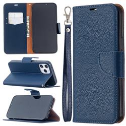 Classic Luxury Litchi Leather Phone Wallet Case for iPhone 12 Pro Max (6.7 inch) - Blue