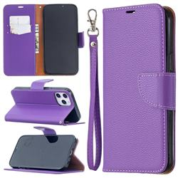 Classic Luxury Litchi Leather Phone Wallet Case for iPhone 12 Pro Max (6.7 inch) - Purple