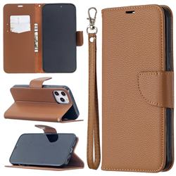 Classic Luxury Litchi Leather Phone Wallet Case for iPhone 12 Pro Max (6.7 inch) - Brown