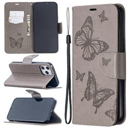 Embossing Double Butterfly Leather Wallet Case for iPhone 12 Pro Max (6.7 inch) - Gray