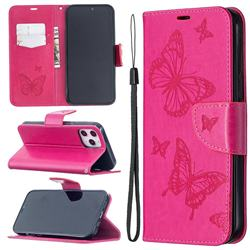 Embossing Double Butterfly Leather Wallet Case for iPhone 12 Pro Max (6.7 inch) - Red