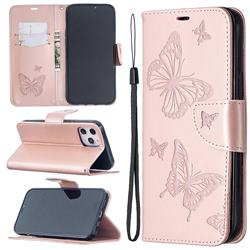 Embossing Double Butterfly Leather Wallet Case for iPhone 12 Pro Max (6.7 inch) - Rose Gold