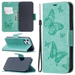 Embossing Double Butterfly Leather Wallet Case for iPhone 12 Pro Max (6.7 inch) - Green