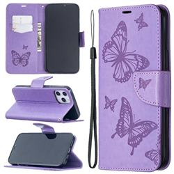 Embossing Double Butterfly Leather Wallet Case for iPhone 12 Pro Max (6.7 inch) - Purple