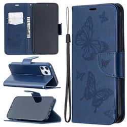 Embossing Double Butterfly Leather Wallet Case for iPhone 12 Pro Max (6.7 inch) - Dark Blue
