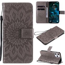 Embossing Sunflower Leather Wallet Case for iPhone 12 Pro Max (6.7 inch) - Gray