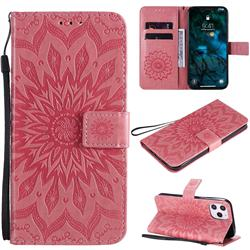 Embossing Sunflower Leather Wallet Case for iPhone 12 Pro Max (6.7 inch) - Pink