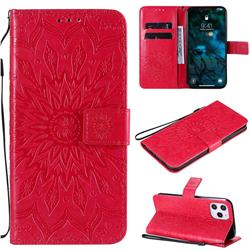 Embossing Sunflower Leather Wallet Case for iPhone 12 Pro Max (6.7 inch) - Red
