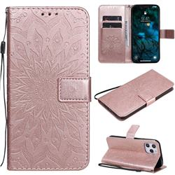 Embossing Sunflower Leather Wallet Case for iPhone 12 Pro Max (6.7 inch) - Rose Gold