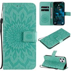 Embossing Sunflower Leather Wallet Case for iPhone 12 Pro Max (6.7 inch) - Green