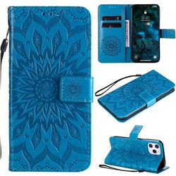 Embossing Sunflower Leather Wallet Case for iPhone 12 Pro Max (6.7 inch) - Blue
