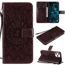 Embossing Sunflower Leather Wallet Case for iPhone 12 Pro Max (6.7 inch) - Brown