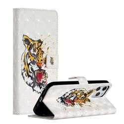 Toothed Tiger 3D Painted Leather Phone Wallet Case for iPhone 12 Pro Max (6.7 inch)