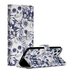 Skull Flower 3D Painted Leather Phone Wallet Case for iPhone 12 Pro Max (6.7 inch)