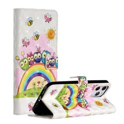 Rainbow Owl Family 3D Painted Leather Phone Wallet Case for iPhone 12 Pro Max (6.7 inch)