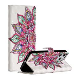 Mandara Flower 3D Painted Leather Phone Wallet Case for iPhone 12 Pro Max (6.7 inch)