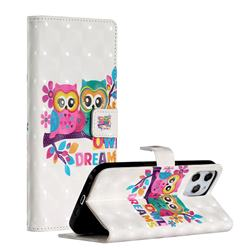 Couple Owl 3D Painted Leather Phone Wallet Case for iPhone 12 Pro Max (6.7 inch)