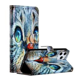 Blue Cat Smooth Leather Phone Wallet Case for iPhone 12 Pro Max (6.7 inch)
