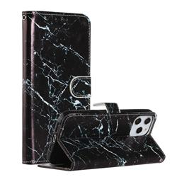 Black Marble Smooth Leather Phone Wallet Case for iPhone 12 Pro Max (6.7 inch)