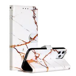 Platinum Marble Smooth Leather Phone Wallet Case for iPhone 12 Pro Max (6.7 inch)