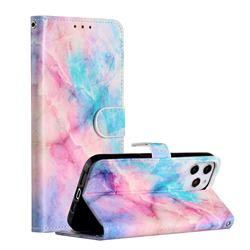 Blue Pink Marble Smooth Leather Phone Wallet Case for iPhone 12 Pro Max (6.7 inch)