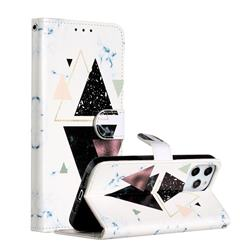 Triangle Marble Smooth Leather Phone Wallet Case for iPhone 12 Pro Max (6.7 inch)