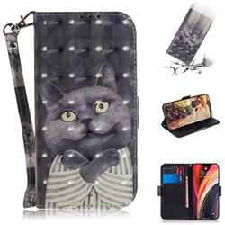 Cat Embrace 3D Painted Leather Wallet Phone Case for iPhone 12 Pro Max (6.7 inch)