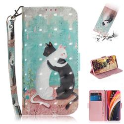Black and White Cat 3D Painted Leather Wallet Phone Case for iPhone 12 Pro Max (6.7 inch)