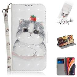Cute Tomato Cat 3D Painted Leather Wallet Phone Case for iPhone 12 Pro Max (6.7 inch)